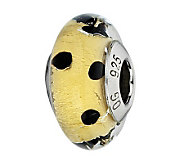 Prerogatives Gold and Black Dots Italian MuranoGlass Bead - J300297