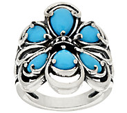 Carolyn Pollack Sterling Silver Sleeping Beauty Turquoise Cluster Ring - J319297