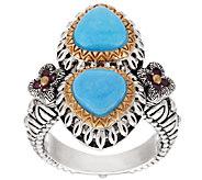 Barbara Bixby Sterling & 18K Turquoise & 0.20 cttw Rhodolite Ring - J320397