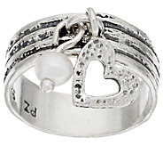 Sterling Silver Cultured Pearl Charm Ring by Or Paz - J321097