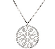 Stainless Steel 18 Cut-out Round Medallion Necklace - J322297
