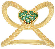 Judith Ripka Sterling & 14K Clad Emerald Heart X Ring - J322397