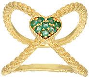 Judith Ripka Sterling & 14K Clad Emerald Heart X Ring - J322397