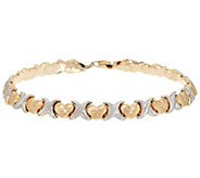 14K Gold 6-3/4 Polished & Satin Finish Stampato Bracelet, 4.6g - J324597