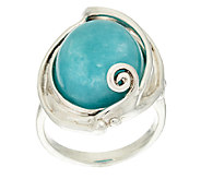 As Is Hagit Sterling Silver Amazonite Cabochon Scroll Ring - J325997