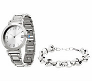 Stainless Steel Watch Set with Bracelet, Boxed - J326497