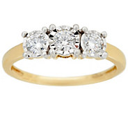3-Stone Diamond Miracle Ring, 14K Gold, 1/2 cttw, by Affinity - J329197