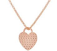 As Is Bronze Diamond Cut Heart Pendant w/ 18 Chain by Bronzo Italia - J330397