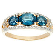 Three-Stone Kyanite & Diamond Band Ring, 14K Gold 1.65 cttw - J330997