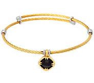 DeLatori Goldtone Cable Bracelet w/ Black Onyx Charm - J334397