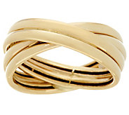 14K Gold Polished Crossover Design Band Ring - J334597