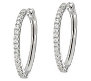 Diamonique 3/4 Pear Shaped Hoop Earrings, Sterling - J335097