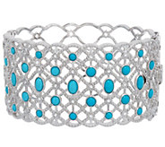 Sleeping Beauty Turquoise & White Topaz Sterling Hinged Bangle - J335897