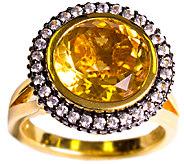 Graziela Gems Round Citrine Halo Ring, Sterling& 18K Yellow - J337097