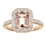1.65cttw Morganite & Pave Diamond Halo Ring, Sterling 14K Ros - J337397