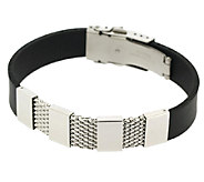 Steel by Design Mens Stainless Steel Mesh andRubber Bracelet - J337597