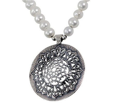 or paz sterling cultured pearl strand necklace qvc