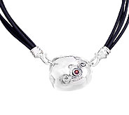 Hagit Sterling & Garnet Accent Pendant with Leather Necklace - J339197