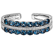 Judith Ripka Sterling Diamonique & London Blue Topaz Cuff - J340497