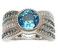 Judith Ripka Sterling, Blue Topaz & DiamoniqueRing - J340997