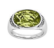 Sterling 5.50 ct Lemon Quartz and 1/7 cttw Diamond Ring - J342397