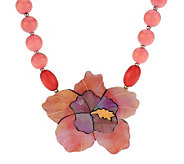 Lee Sands Hibiscus Shell Flower Inlay Necklace - J342897