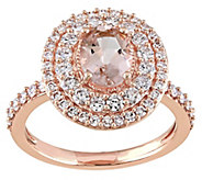 1.15 ct Morganite & 1/7 cttw Diamond Ring, 14KRose Gold - J343297