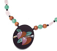 Lee Sands Floral Inlay Wood Bead 19 Necklace - J343597