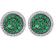 1.10 cttw Emerald & 1/4 cttw Diamond Earrings,14K - J344097