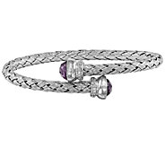 Sterling Amethyst and Crystal Braided FlexibleWrap Bangle - J344297