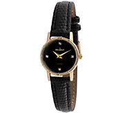 Peugeot Womens Goldtone Diamond Accent LeatherWatch - J344597