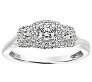 Pave Halo Three Stone Diamond Ring, 14K, 1/3 cttw, by Affinit - J345097