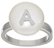 As Is Honora Cultured Pearl 13.0mm White Coin Initial Sterling Ring - J346597