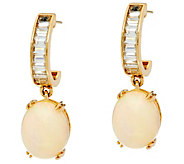 Ethiopian Opal & Baguette White Zircon Drop Earrings, 14K Gold - J346797