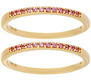 As Is Set of 2 Pink Sapphire Band Rings, 14K Gold 0.20 cttw - J346997