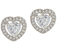 Diamonique Heart Halo Stud Earrings, Sterling - J347397