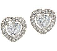 Diamonique Heart Halo Stud Earrings, Sterling - J347397