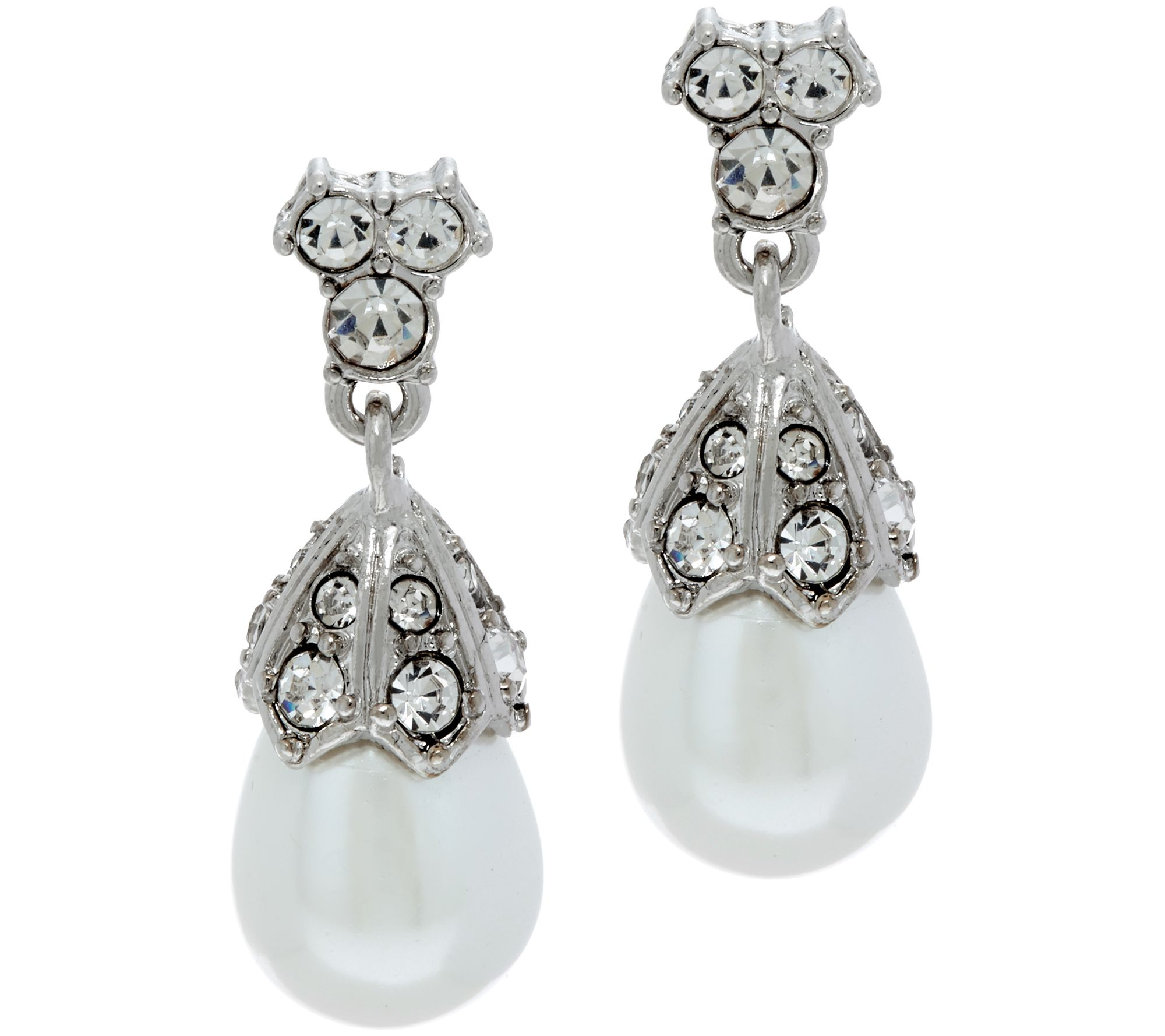 Joan Rivers Simulated Pearl & Simulated Diamond Earrings  J347597
