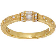 Judith Ripka 14K Clad Diamonique Estate Style Ring - J348697