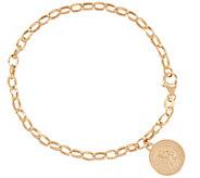 As Is Vicenza Gold 6-3/4 Rolo Link Saint Charm Bracelet, 2.9g - J348997
