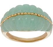 Jade Carved Band Ring, 14K Gold - J349697