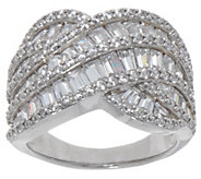 Diamonique Baguette and Round Swirl Ring, Platinum Clad - J353397
