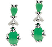 Ships 3/2 Carolyn Pollack Sterling Silver Jade Cabochon Dangle Earrings - J354797