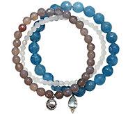 Satya Set of 3 Gemstone Bead Stretch Bracelets - J375397