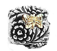 Prerogatives Sterling and 14K Gold Butterfly Floral Bead - J109298