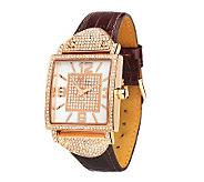 Melania Bryant Park Pave Case Leather Strap Watch - J261398