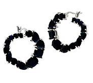 7.80 ct tw Thai Midnight Sapphire Sterling Hoop Earrings - J270598