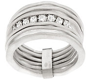 Vicenza Silver Sterling Satin Finish Multi-row Diamonique Ring - J271998