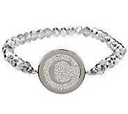 Steel by Design Crystal Initial Stretch Bracelet - J279098