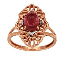 1.40 cts Rubellite Cabochon & Diamond Accent Ring, 14K Gold